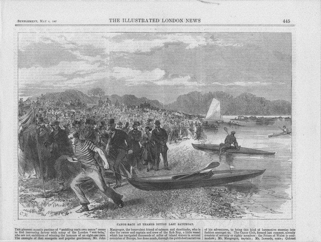 Wyścig kajakowy zorganizowany przez Johna Macgregora w 1867 roku w miejscu Thames Ditton.