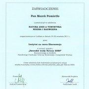 Certyfikat ze szkolenia Natura 2000.