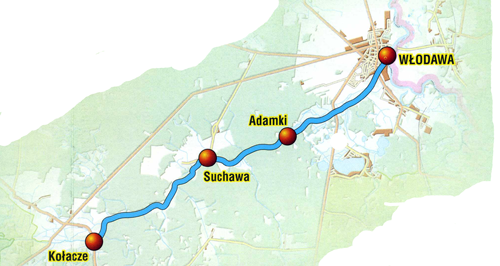 Trasa szlaku kajakowe po rzece Włodawka.