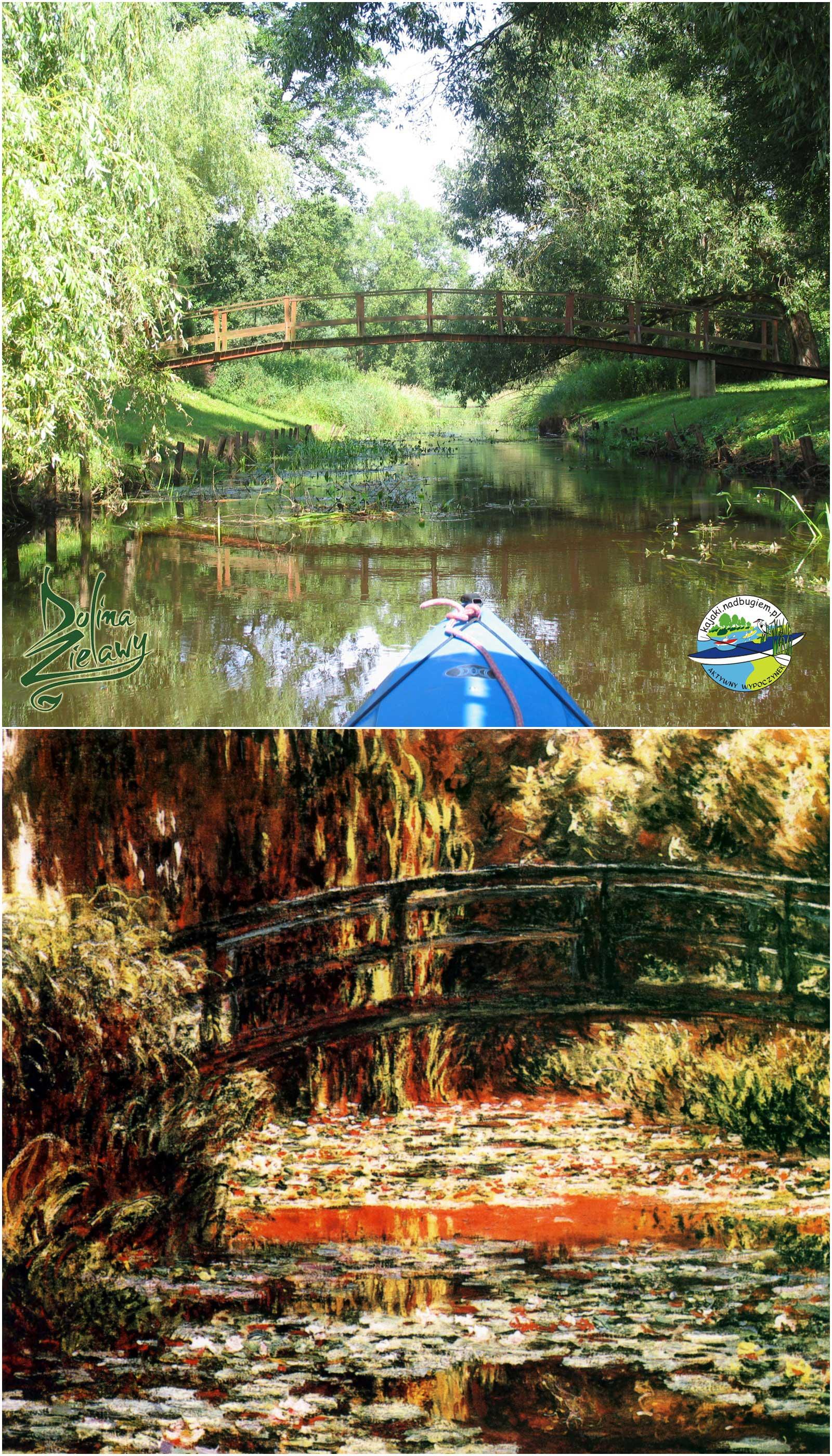 Bardzo piękny widok na mostek podczas spływu kajakowego po Zielawie.